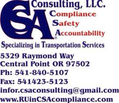 This company is great . They help single drivers all of the way up to larger companies stay in compliance with all of the new regulations. They will represent you at an audit , handle your log book auditing , provide and process your DQ file , inexpensive vehicle inspections , fight a bad write up , you name it . They go anywhere and have great reputation . They will meet you at a truck stop.  Ruincsacompliance.com  Ruincsacompliance.com