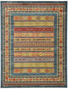 Blue 275cm x 365cm Kashkuli Gabbeh Rug | Area Rugs | iRugs UK