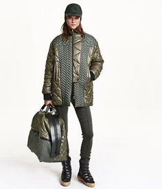 H&M Studio Collection AW 2015 Khaki Green Classy Padded Quilted Bomber Jacket