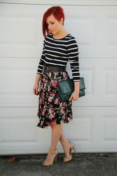 Thrift and Shout blog, cute outfit of the day, midi skirt, oversized clutch, Old Navy striped top, vintage floral skirt from Volunteers of America, Ivanka Trump heels, red hair, asymmetrical haircut, undercut, fashion