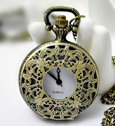 Medium Size Pocket Watch withFiligree Cover  B227 by ministore, $4.80