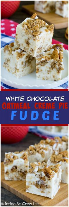 White Chocolate Oatmeal Creme Pie Fudge - this easy 4 ingredient fudge is loaded with soft oatmeal cookies and marshmallow. Awesome no bake dessert recipe! (no bake oatmeal bars 3 ingredients) Fudge Recipes, Candy Recipes, Chocolate Recipes, Sweet Recipes, Birthday Desserts, Köstliche Desserts, Delicious Desserts, Dessert Recipes, Soft Oatmeal Cookies