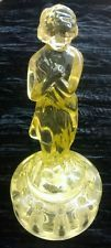 Yellow Cambridge Glass Draped Lady Flower Frog