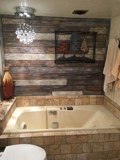 Pallet wall and tile bathroom remodel Modern Shower, Modern Bathroom, Small Bathroom, Gray Shower Tile, Laundry Room Bathroom, Floor Colors, Flooring Options, Amazing Bathrooms, Pallet