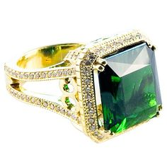 16.4 carat Green Tourmaline & Diamond Ring | From a unique collection of vintage cocktail rings at https://www.1stdibs.com/jewelry/rings/cocktail-rings/