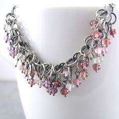 Mulberry Shaggy Loops Necklace III - Multi Spinel, Sterling Silver and Chainmail