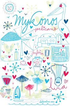 Illustration lettering Mykonos by Holamimi Mykonos Island, Mykonos Greece, Santorini, Evelyn Henson, Picture Icon, Pub, Vintage Travel Posters, Watercolor Illustration, Pretty Pictures