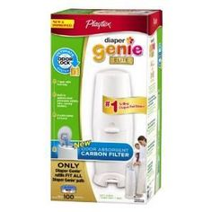 Playtex Diaper Genie Elite Pail System with Odor Lock Carbon Filter, 100 Count