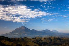 Virunga Volcanoes from Kisoro, Kisoro District, Uganda, Beautiful area near the DR Congo and Rwanda border and near Lake Bunyonyi, Lake Mutanda, Lake Murehe. Visit with Instinct Safaris