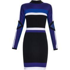 Versace Colour-block long-sleeved dress (3.885 HRK) ❤ liked on Polyvore featuring dresses, short dresses, versace, vestidos, blue multi, long sleeve mini dress, striped dress, colorblock dress, blue mini dress and stripe dresses