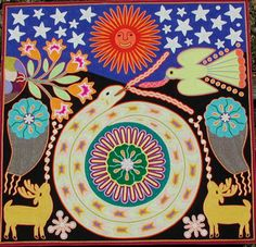 Enjoy Arts And Crafts Art And Illustration, Kunst Der Aborigines, Yarn Painting, Mundo Animal, Indigenous Art, Naive Art, Mexican Folk Art, Visionary Art, Aboriginal Art