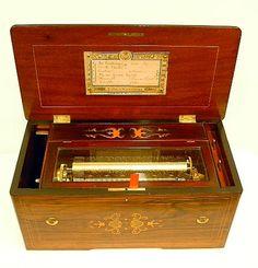 Antique Cylinder Music Boxes Music Box Maker, Music Boxes, Antique Music Box, Music Machine, Treasure Boxes, Wood Storage, Harp, Vintage Wood, Wooden Boxes