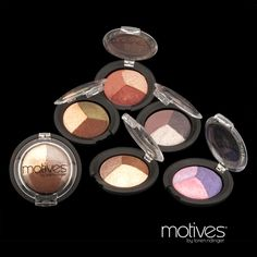 Motives® Mineral Baked Eye Shadow Trio  Price: $24.00      Baked to produce a smooth and silky texture unlike other eye shadows      Highly pigmented and long lasting due to the baking process allowing pigments to set in      Luxurious, shimmery finish      Contains rosemary extract which improves the appearance of smoother-looking skin around the eyes      Contains magnolia bark extract which can help reduce the appearance of lines and wrinkles