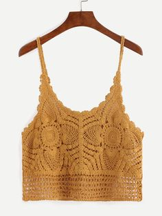 Shop Hollow Out Crochet Cami Top - Yellow online. SheIn offers Hollow Out Crochet Cami Top - Yellow & more to fit your fashionable needs.