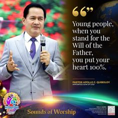 Excerpt from Sounds of Worship⠀ ⠀ Young people, when you stand for the Will of the Father, you put your heart ~ Pastor Apollo C. Quiboloy, Appointed Son of God⠀ ⠀ ⠀ Spiritual Enlightenment, Spirituality, Hanging Planter Boxes, Cute Dog Wallpaper, Social Media Pages, Son Of God, Wallpaper Free Download, Praise And Worship, Young People