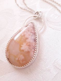 Flower Agate and Sterling Silver Pendant Necklace - Plume Agate Necklace - Pink Stone Jewelry - Mother's Day Gift - Jewelry Gifts for Her by GaiasCandy on Etsy Handmade Sterling Silver, Sterling Silver Pendants, Sterling Silver Chains, Agate Necklace, Pendant Necklace, Pink Agate, Old Stone, Pink Stone, Agate Gemstone