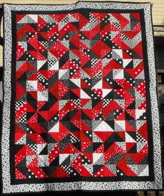 Red, White and Black Polka Dotted Pinwheel Quilt