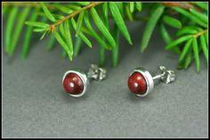 Red stud earrings, Sterling silver stud earrings with red wood, Red wood stud earrings,Small stud earrings, Minimalist stud by HUMBERTcreations on Etsy https://www.etsy.com/listing/191672088/red-stud-earrings-sterling-silver-stud