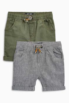 Khaki/Grey Texture Shorts Two Pack (3mths-6yrs)