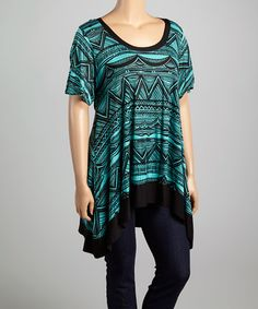 Another great find on #zulily! Black & Teal Tribal Scoop Neck Top - Plus #zulilyfinds