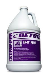 Betco Ax-It Plus Very Aggressive No rinse Floor Stripper. This fast acting, floor finish liquefier will solve stripping difficulties caused by frequent high speed burnishing, super hard urethane fortified finishes, or excessive build up. Based on solvency to dissolve old wax and finish, rather than harsh alkalies, this stripper will not leave an alkaline residue requiring multiple rinsing. Floors are ready to re-coat without neutralizing when used as directed.
