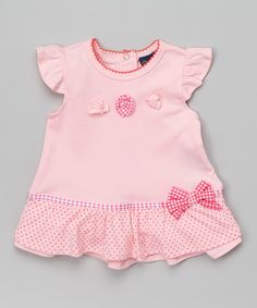 Look at this Sweet & Soft Pink Polka Dot Angel-Sleeve Dress - Infant on #zulily today!