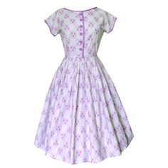 Lilac and white dotty vintage 1950s day dress available at www.candysays.co.uk