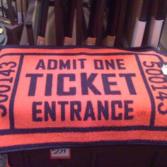 Movie ticket rug for a movie room! - Would be great as a throw!