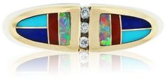 Kabana 14K Yellow Gold Diamond Enamel and Opal Cocktail Ring Size 7.25. Turquoise jewelry. I'm an affiliate marketer. When you click on a link or buy from the retailer, I earn a commission.