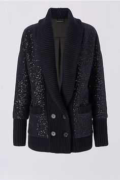 Add shine to your look with this embellished oversized cardigan with button front closure.