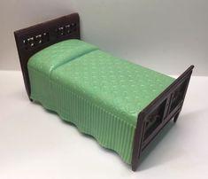 NICE! Renwal GREEN TWIN BED Vintage Tin Dollhouse Furniture Ideal Miniature 1:16  | eBay