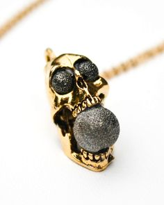 Grey Stardust Screaming Skull Necklace