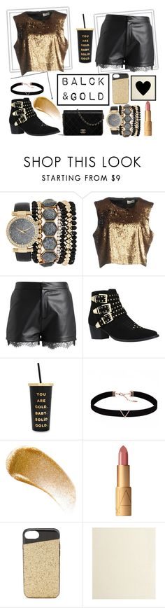"""black&gold"" by babyangelove ❤ liked on Polyvore featuring Jessica Carlyle, Nineminutes, even&odd, Miss KG, ban.do, Astrid & Miyu, BBrowBar, Nanette Lepore, gold and party"