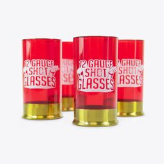 Buy 12 Gauge Shot Glass - by Mustard (Set of online and save! A shot glass with a bang! Each pack is loaded with four red glasses worthy of any pump action shot gun. Skull Shot Glass, Shot Glass Set, Unusual Gifts For Women, Fun Wine Glasses, Drinking Buddies, Cool Kitchen Gadgets, Cool Mugs, Wood Gifts, Messages