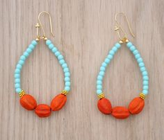 Coucou Suzette / Tribal Earrings // Gypsy colorful earrings / Africa jewelry / Light turquoise, neon red oranged  gilded / Bohemian / Hippie jewelry