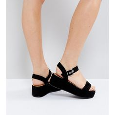 ASOS TOUCAN Wide Fit Wedge Sandals ($35) ❤ liked on Polyvore featuring shoes, sandals, black, wedge heel sandals, prom shoes, wedge shoes, black wedge heel sandals and wide wedge sandals