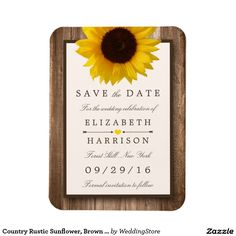 Country Rustic Sunflower, Brown Wood Save The Date Rectangular Photo Magnet