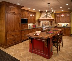 Interior. Good looking Tuscan kitchen decoration with red wood kitchen island along with light walnut wood kitchen cabinet and cream porcelain tile kitchen flooring. Top Notch Pictures Of Tuscan Kitchen Decoration Design