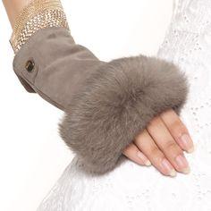 Elma Lady's Genuine Suede Leather Fingerless Gloves With Soft Rabbit Fur Trim Leather Gloves, Suede Leather, Women's Gloves, Warmest Winter Gloves, Fur Accessories, Fingerless Mittens, Fur Fashion, Rabbit Fur, Bandeau