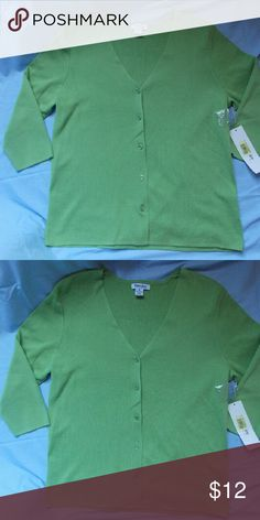 NWT - Short Sleeved Button up Sweater NWT Green button up sweater 80% cotton 20% nylon Hampshire Studio  Sweaters Cardigans