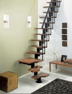 wood-steel stair (interlocking tubular spine)