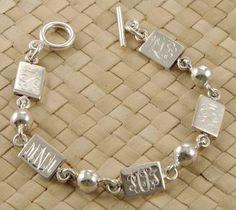 Monogrammed Mother's Rectangle Sterling Bracelet- Names | Marley Lilly