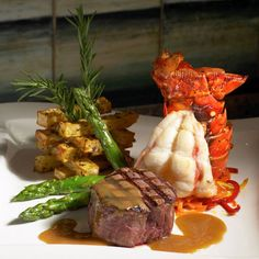 surf and turf dinner | steak and lobster tails | wonderful presentation