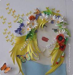 Картина панно рисунок Бумагопластика Девушка -лето Бумага фото 1