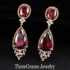 Statement Party Jewelry 18K Real Gold Plated CZ Diamond Large Ruby Red Austrian Crystal Dangle Drop Earrings For Women ER085