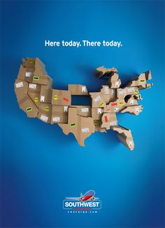 Southwest Airlines by Tim Delger Creative Advertising, Ads Creative, Print Advertising, Street Marketing, Guerilla Marketing, Creative Poster Design, Creative Posters, Creative Banners, Ad Of The World