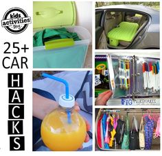 "Car Hacks-1)If you use reusable tote grocery bags, fill a bin with the totes and keep it in the trunk.   2)This inflatable bed would make resting easier.  3)Poke a hole into the lid of a water bottle and add a straw for an instant ""sippy cup"" for an older child.  4) Don't let all the bags and jackets pile on the floor.  Use a tension rod - the kind designed for closets."