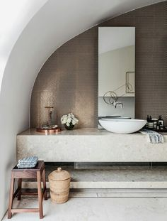 A Bondi Beach apartment Bathroom with a cool Neutral elegance and Playful styling