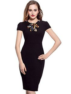 aa527d93dbcd Amazon.com: Merope J Womens Scsrf Round Neck Cap Sleeves Bow Tie Bodycon  Dress( L,Black): Clothing. Elegant Dresses For WomenSummer ...