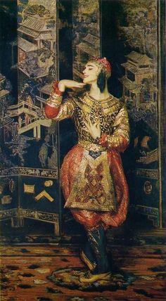 "Painting (1910), by Jacques-Emile Blanche (1861-1942), of ""Les Orientales"" (1910), by Igor Stravinsky [Игорь Ѳедоровичъ Стравинскій] (1882-1971)."